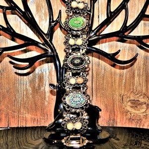 Vintage Glass Cabochon & Faux Pearl Bracelet